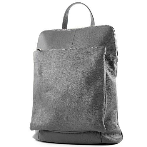 modamoda de - T141 - ital Damen Rucksacktasche 3in1 aus Leder, Farbe:Dunkelgrau