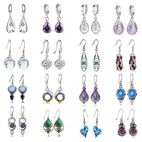Team99 16 pares de pendientes colgantes de cristal en forma de lágrima para mujer pendientes de aro bohemios multicolores kit de pendientes colgantes con gancho de colores pendientes de perlas