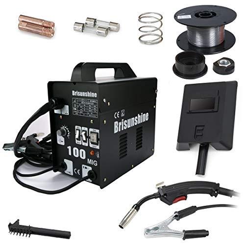 Schweißmaschine MIG 100 Ampere Schweißgerät Elektroden Schweißgerät FLUX Schutzgas Fülldraht (Schwarz)