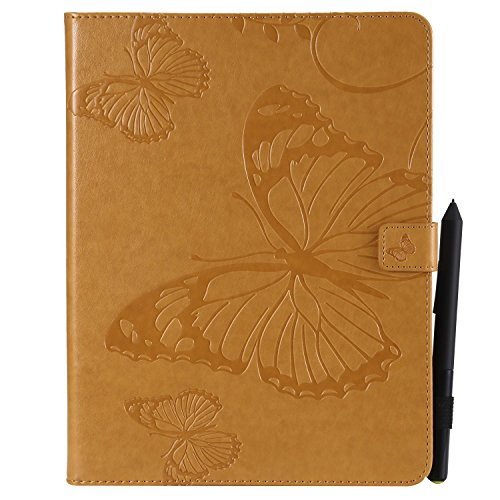 Wmchiwan Tablet Case Shockproof TPU Bumper Magnetic Clasp With Stylus Pen Holder Butterfly Embossed With Credit Card Slots Fit for iPad 2/3/4