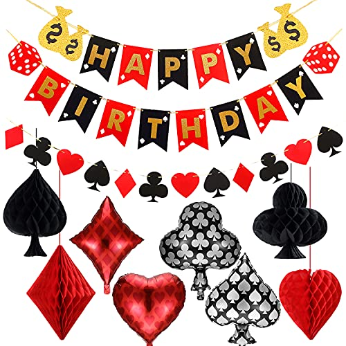 Casino Poker Party Decorations,Poker Theme Birthday Banner and Garland,Poker Foil Balloons,Poker Honeycomb Paper Pom Poms for Las Vegas Casino Night Poker Events Birthday Supplies