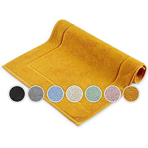 Melunda Alfombrilla de baño para hotel – 50 x 70 cm Mustard – Marco – Alfombrilla de baño alfombra de baño, alfombrilla de ducha, alfombrilla de baño, alfombra de baño lavable