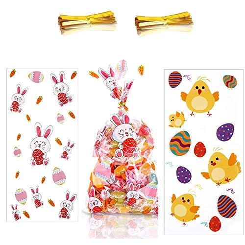 Xin 100 Pezzi Sacchetti di Cellophane Pasqua Trattare Sacchetti di Caramelle con 200 Pezzi Twist Tie Plastica Trasparente Borse di Caramelle per Dolcetti di Pasqua Candy Cioccolatini Biscotti
