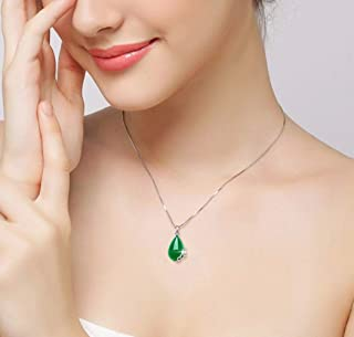 Goldenchen Fashion Jewelry 925 Sterling Silver CZ Crystal Butterfly Pear Cut Green Emerald Teardrop Pendant Necklace
