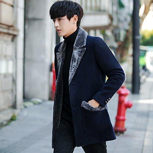 D'épais hommeteau de laine en long hommeteau de fourrure épaisse veste de laine pour hommes.,Bleu,XL