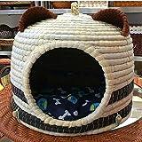 Luyshts Hecho A Mano Panda Pet Nest Panda Ear Cat Litter Maíz De Cuero Estera Grass Pet Nest con Oreja Moda Casa De Perro