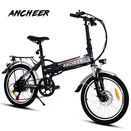 """ANCHEER Elektrofahrrad, Faltbares E-Bike für Erwachsene, Faltrad, 20/26 Zoll Klapprad Pedelec mit Lithium-Akku (250W, 36V), Elektrofahrräder mit 7-Gang Shimano Nabenschaltung (20"""" schwarz)"""