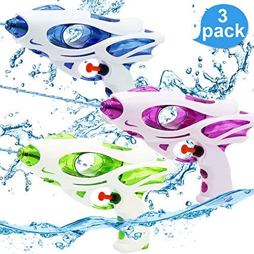 Sunshine smile 3 Stück Wasserpistolen Set, Wassergewehr für Erwachsene Kinder, Water Blaster, Wasserpistole Spielzeug, Water Gun, Wasserpistole für Garten und Strand