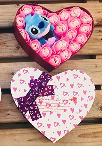 Best Quality - Stuffed & Plush Animals - Artificial plush Lilo stitch toys with bouquets stich soap flowers Valentine's Day rustic weeding decoration for weddings favor - by Pasona - 1 PCs