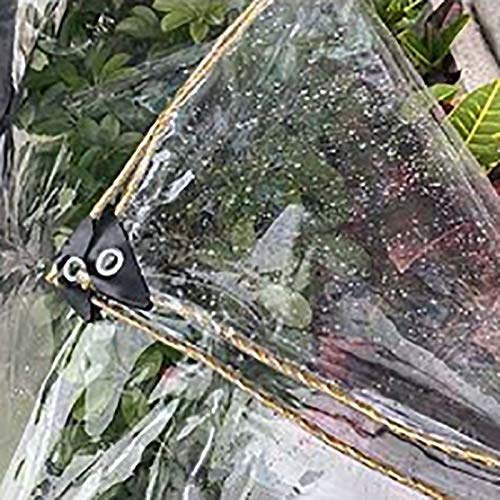 N / A Tarps Transparent Tarpaulin with Grommets, Heavy Duty Waterproof Pergola Tarp Cover, 450G Ground Sheet for Terrace Greenhouse Plant(Color:0.35mm,Size:1×2m)