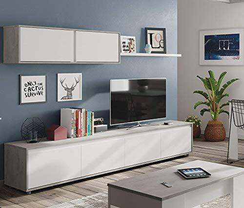 Dmora Mobile da Soggiorno Porta TV a Quattro Ante, con modulo pensile e mensola, Colore Cemento e Bianco artik, cm 200 x 43 x 41