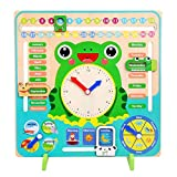 WISHKEY 7 in 1 Multi Functional Wooden Calendar Clock with Sliders Preschool Educational Learning Toy for Toddlers & Kids 3+ Years (Pack of 1, Multicolor)