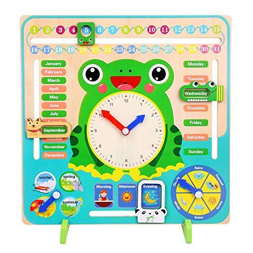 wishkey 7 in 1,wooden calendar clock preschool educational learning toy for kids- Multi color