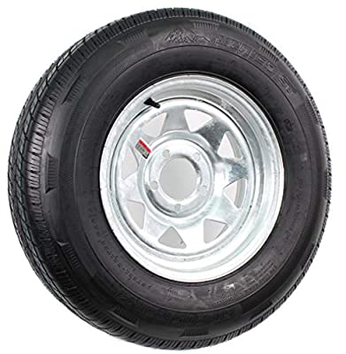 Mounted Radial Trailer Tire On Rim ST205/75R14 LRC 5 Lug Galvanized Spoke Wheel