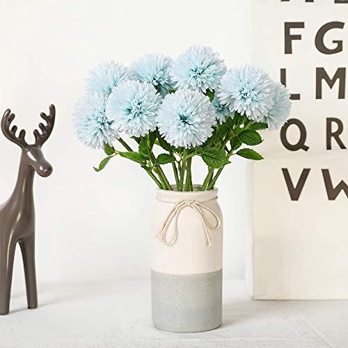 JUSTOYOU Kunstseide Kunstblumen Löwenzahn Hortensie Blumenstrauß für Hochzeit, Geburtstagsfeier, Dekoration(Blau,10pcs)