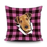 Funda de almohada a cuadros de búfalo rosa y negro con My Love Dog Airedale Terrier para decoración del hogar, funda de cojín divertida para sofá, dormitorio, 45,7 x 45,7 cm, impresión de doble cara
