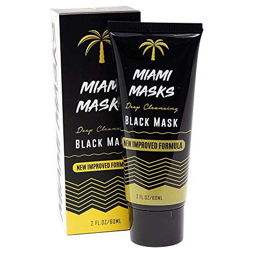 Miami Masks Blackhead Remover Bamboo Black Charcoal PeelOff Face Mask Anti-Acne Pore Minimizer Black head Remover Facial Mask All Skin Types Nose, Forehead Smoother Deep Cleansing Purifying (1 Pack)