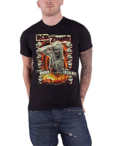 Rob Zombie T Shirt Born to Go Insane Stage Band Logo offiziell Herren Nue