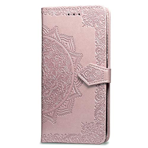 3C Collection Fundas iPhone 6Plus Tapa de Falsa Piel Mandala Oro Rosa, Fundas iPhone 6S Plus Libro Iman con Tarjetero, Grabado Flores de Funda para iPhone 6Plus y iPhone 6S Plus Antigolpes Mujer
