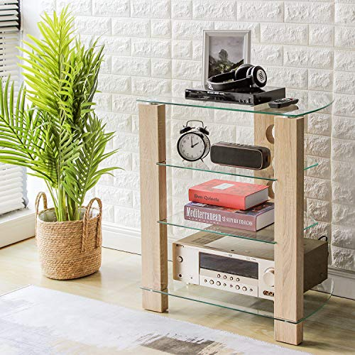 RFIVER HiFi Rack TV Regal Möbel Klarglas Audio mit 4 Glaspaltten 60x42x72cm HF1003