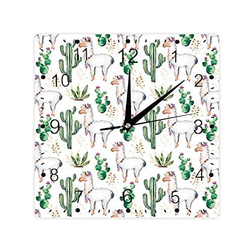 Caliente Sur Desierto Planta Cacti Patrón Camel Animal Moderno Color Imagen Impresión Color Cuadrado Morden Reloj Slient