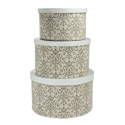 Household Essentials 3-Piece Hat Box Set with Faux Leather Lids, Scroll Pattern