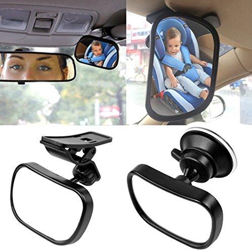 Wommty, specchietto retrovisore per bambini e neonati seduti sul sedile posteriore, infrangibile, di sicurezza, con una ventosa per il montaggio sul parabrezza o sul parasole