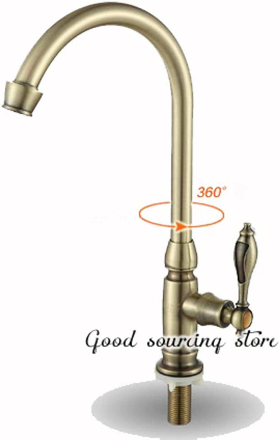 SLTYSCF Faucet Single Cold Water golden Antique Brass Kitchen Faucet