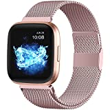 ZWGKKYGYH Compatible with Fitbit Versa and Versa 2 Bands for Women Men, Rose Gold Stainless Steel Metal Mesh Magnetic Band Bracelet Strap Replacement for Fitbit Versa/Versa Lite SE, Large