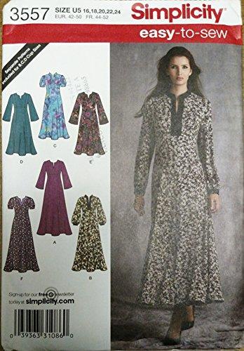 Simplicity mehrgrößen Schnittmuster 3557 (7035) Misses Dress, Kaftan K5 - Sizes 8-16