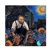 面白いアートパネルキャンバス絵画インテリアヴァンゴッホとひまわりと青い星空のポスターとプリントウォールアートパネルリビングルーム家の装飾写真60x60cmフレームなし