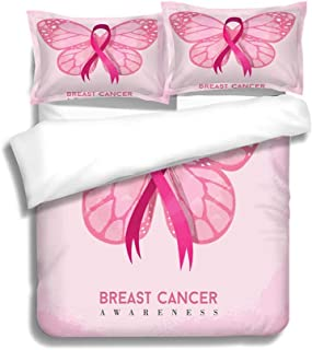 MTSJTliangwan Duvet Cover Set Pink Butterfly with Ribbon for Breast Cancer 3 Piece Bedding Set with Pillow Shams, Queen/Full, Dark Orange White Teal Coral