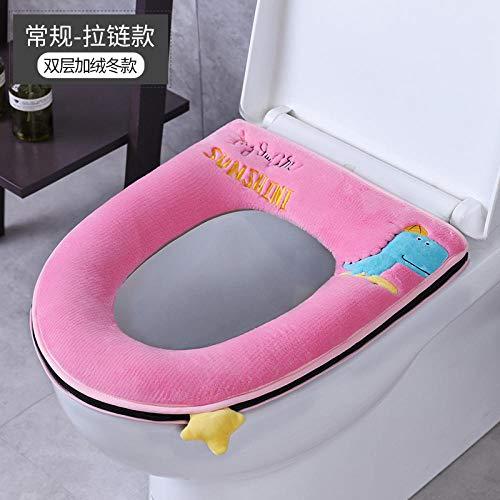 FGHOMEYWMTZQ Verdickt Plus Samt Winter zu Hause WC-Pad niedlich Toilettendeckel warm WC-Sitz-Set Plüsch WC-Sitz-Pink-Skateboard Dinosaurier-Regular Zipper