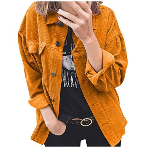 VJGOAL Blouson Veste Femme Velours Côtelé Manches Longues Manteau Mode Revers Jacket Bouton Casual Cardigan Femme Fille Étudiant Automne Hiver Vêtements en Vrac Grande Taille S-2XL