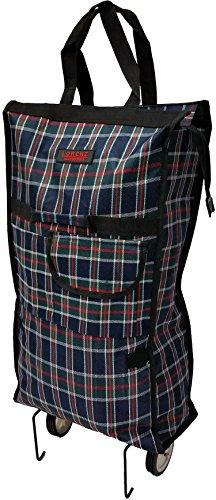 Einkaufstasche mit Rollen, faltbar, leicht, mit Vordertasche und Reißverschluss Marineblau kariert