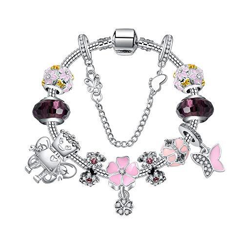 ZSCRL Rosa Blumen umgeben Saitenarmband, zarte Blume Anhänger Armband, mit Damen Abendkleid Länge 20cm Silberpulver Perlen