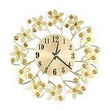 ThsiJJ 3D Wrought Iron Diamond Flower Wall Clock Fashion Creative Silent Metal Clocks Living Room Office Wall Decor