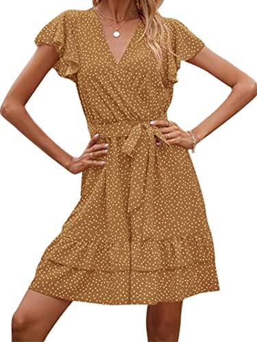 Mini vestido casual de manga corta con encaje y nudo con cuello en V para mujer