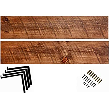 Imperative Décor Rustic Wood Wall Shelves with Matte Black L Brackets | Set of 2 (24 x 5.5in)