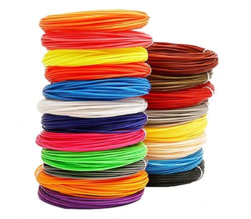 GYAM Filamento De Bolígrafo De Impresión 3D 20/30 Colores, 5M / 16.4 Pies De Largo, Recarga De Filamento PCL De Bolígrafo 3D De Color Creativo, Suministros De Arte 3D Regalos para Niños,20roll