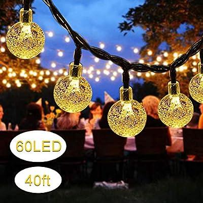 Solar String Lights, 60 LED Outdoor Garden Solar Lights Crystal Ball Decorative Lights 40Ft Waterproof Indoor Outdoor Fairy Lights for Garden, Patio, Yard, Christmas [Warm White]