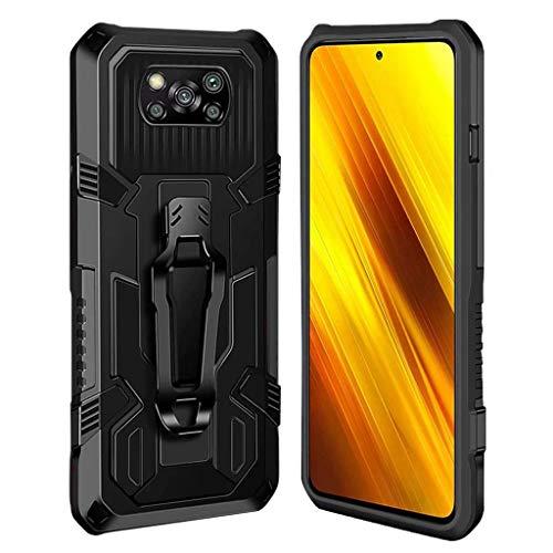 Ubrand DBLX Hülle für Xiaomi Poco X3 / X3 NFC, Ständer Anti-Rutsch Stoßfest Kratzfest Handyhülle, Panzerhülle Outdoor mit Halterung Schutzhülle, haben Gürtelclip Eigenschaften Case - Schwarz