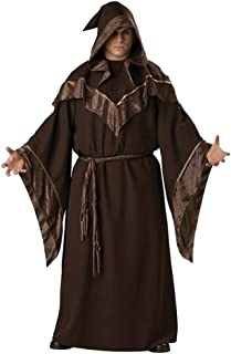 JSSFQK Brown Gothic Sorcerer Cosplay, Halloween Costume Party, Including Costumes, Hats, Belts for Various Theme Parties (Suitable for Height 170cm-185cm)