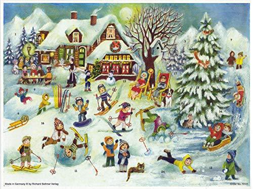 Papier Adventskalender / Weihnachtskalender mit Bildern und Glimmer für Kinder und Erwachsene