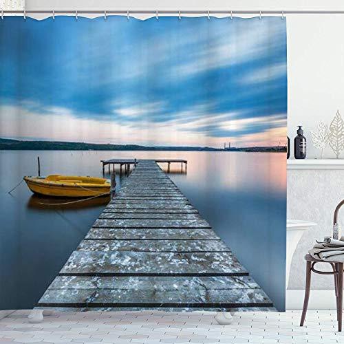 NR Duschvorhang,Boot am Lake Shore Wooden Pier Sunset Sunbeams & romantischen Abend,Hochwertige Qualität,180x180cm Wasserdicht mit Haken für Badezimmer