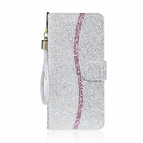 Lijc Compatible con Funda Samsung Galaxy A42 5G Brillo de Lentejuelas PU Cuero Wallet con Soporte Plegable y Ranura para Tarjetas Cierre Magnético Antigolpes Flip Caso-Plata