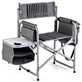 Giantex Aluminum Folding Director's Chair, Side Table Bag Cup Holder Portable Supports 250lbs Oxford Fabric Beach Park Deck Foldable Metal High Camping Fishing Heavy-Duty,Outdoor Director Chairs