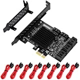 MZHOU PCIe SATA Card 8 Port, with 8 SATA Cables and Low Profile Bracket, 6Gbps SATA 3.0 PCIe Card,Support 8 SATA 3.0 Devices, Built-in Adapter Converter for Desktop PC