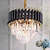 FRIXCHUR Modern Crystal Chandelier Light 3 Tiers Raindrop Crystals Pendant Light Fixture Flush Mount Ceiling Lighting for Dining Room Living Room Kitchen Island Hallway Restaurant,E12 x 5 Lights