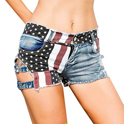 Gusspower Mujer Pantalones Cortos Rotos Sexy Vaqueros Short Cintura Alta Verano Vintage Jeans Bandera Americana de impresión Deporte Elástico Hot Jeans Denim Elástico Mezclillade Verano